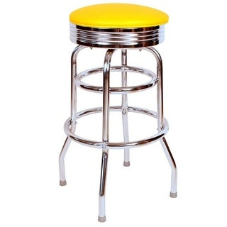 Retro Home Yellow Chrome 30-inch Swivel Bar Stool