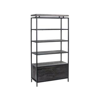 Sunpan Norwood Black/Grey Metal/Pine/Concrete Bookcase