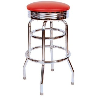 Retro Home Floridian Collection Red Chrome 30-inch Swivel Bar Stool