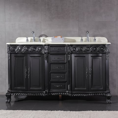 Ove Decors T Black Wood 60 Inch Double Sink Bathroom Vanity