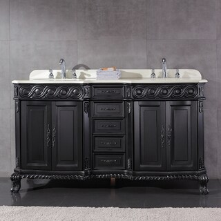 OVE Decors Trent Black Wood 60-inch Double-sink Bathroom Vanity