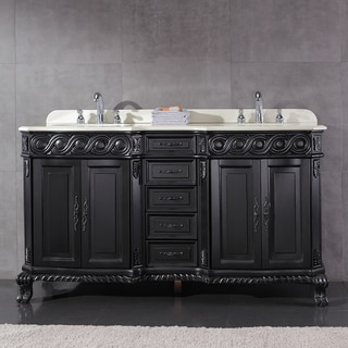 OVE Decors Trent Black Wood 60 Inch Double Sink Bathroom Vanity