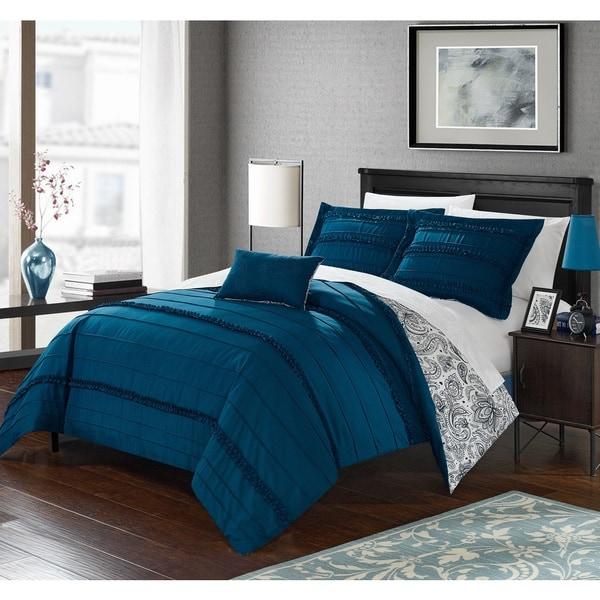 Chic Home 8-Piece Atticus Bed-In-A-Bag Blue Duvet Set