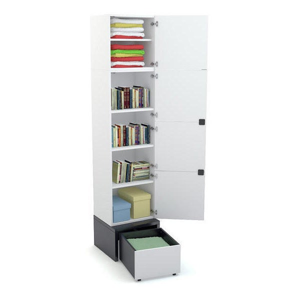 Voelkel Young Users Collection White-finish Wood 3-shelf 1-door Wardrobe with Platform and Drawer