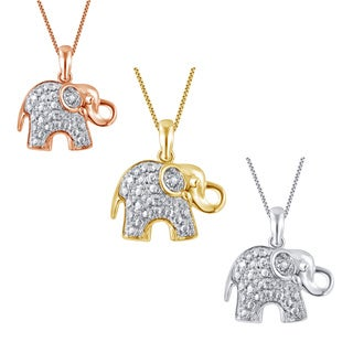 Divina Silver Over Brass Diamond Accent 18-inch Elephant Pendant Necklace