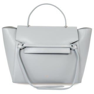 Celine Belt Medium Powder Blue w/Gold Hardware Leather Handbag