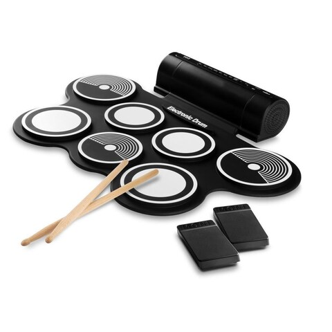 Pyle PTEDRL14 Electronic Drum Kit - Compact Drumming Machine MIDI Computer Connection Roll-Up Design Mac & PC Compatible