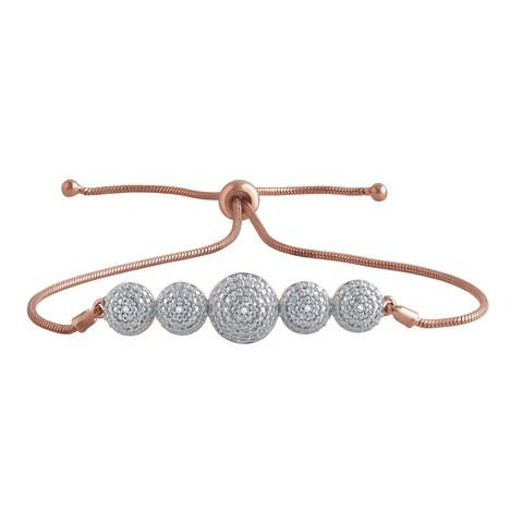 Divina Gold-tone and Silver Overlay Brass I-J, I2-I3 Diamond Accent Adjustable Slider Fashion Bracelet - n/a