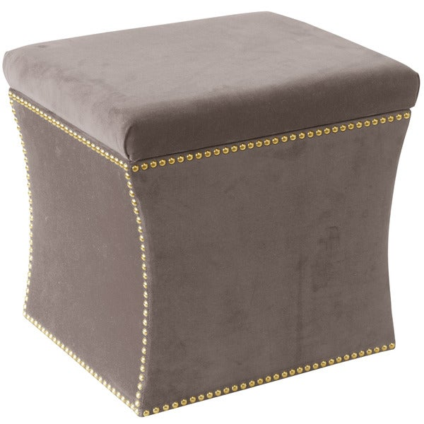 Skyline Furniture Nail Button Storage Ottoman In Regal Smoke
