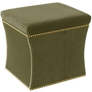Skyline Furniture Regal Moss Green Nail Button Storage Ottoman