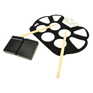 Pyle PTEDRL11 Electronic Drum Kit - Portable Drumming Machine, Compact Quick Setup Roll-Up Design