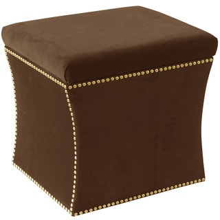 Skyline Furniture Regal Chocolate Cotton Nail Button Storage Ottoman