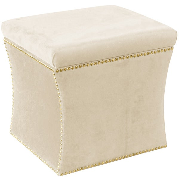 Skyline Furniture Regal Antique White Cotton/Pine Nail Button Storage  Ottoman