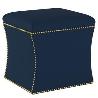 Skyline Furniture Velvet Navy Nail Button Storage Ottoman