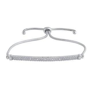Divina Silver Over Brass Diamond Accent Adjustable Slider Fashion Bracelet