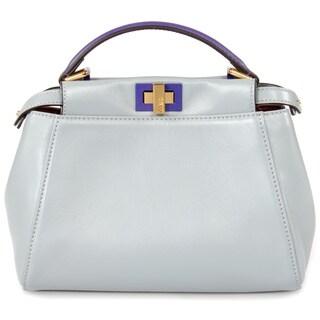 Fendi Peekaboo Powder Blue w/ Gold Hardware Mini Satchel Handbag