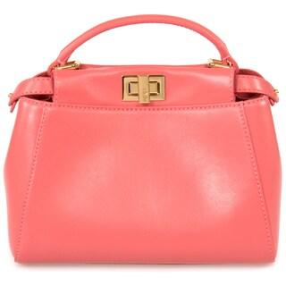 Fendi Peekaboo Pink w/ Gold Hardware Mini Satchel Handbag