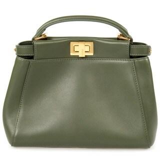 Fendi Peekaboo Green w/ Gold Hardware Mini Satchel Handbag