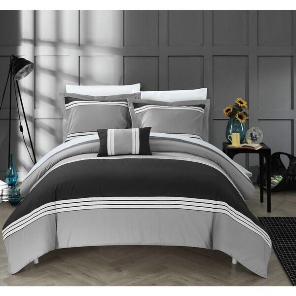 Chic Home 8-Piece Sawyer Bed-In-A-Bag Black Duvet Set