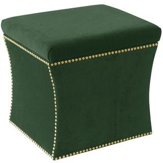 Skyline Furniture Green Fabric Nail Button Storage Ottoman