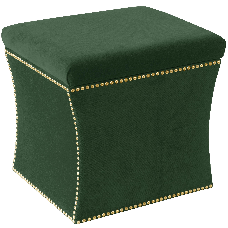 Fabulous Skyline Furniture Green Fabric Nail Button Storage Ottoman Short Links Chair Design For Home Short Linksinfo