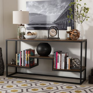 Baxton Studio Makedon Rustic Industrial Style Antique Black Textured Finished Metal Distressed Wood Console Table