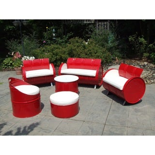 SS 396 Indoor/ Outdoor 6-piece Red and White Conversation Set Plus