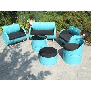 Stormy Mountain Indoor/ Outdoor Turquoise and Black Garden Patio 6-piece Conversation Set Plus