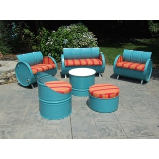 Santa Fe Blue Steel Drums and Sunbrella 6-piece Indoor/Outdoor Patio/Garden Set