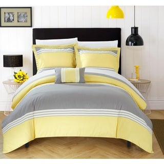 Chic Home 8-Piece Sawyer Bed-In-A-Bag Yellow Duvet Set