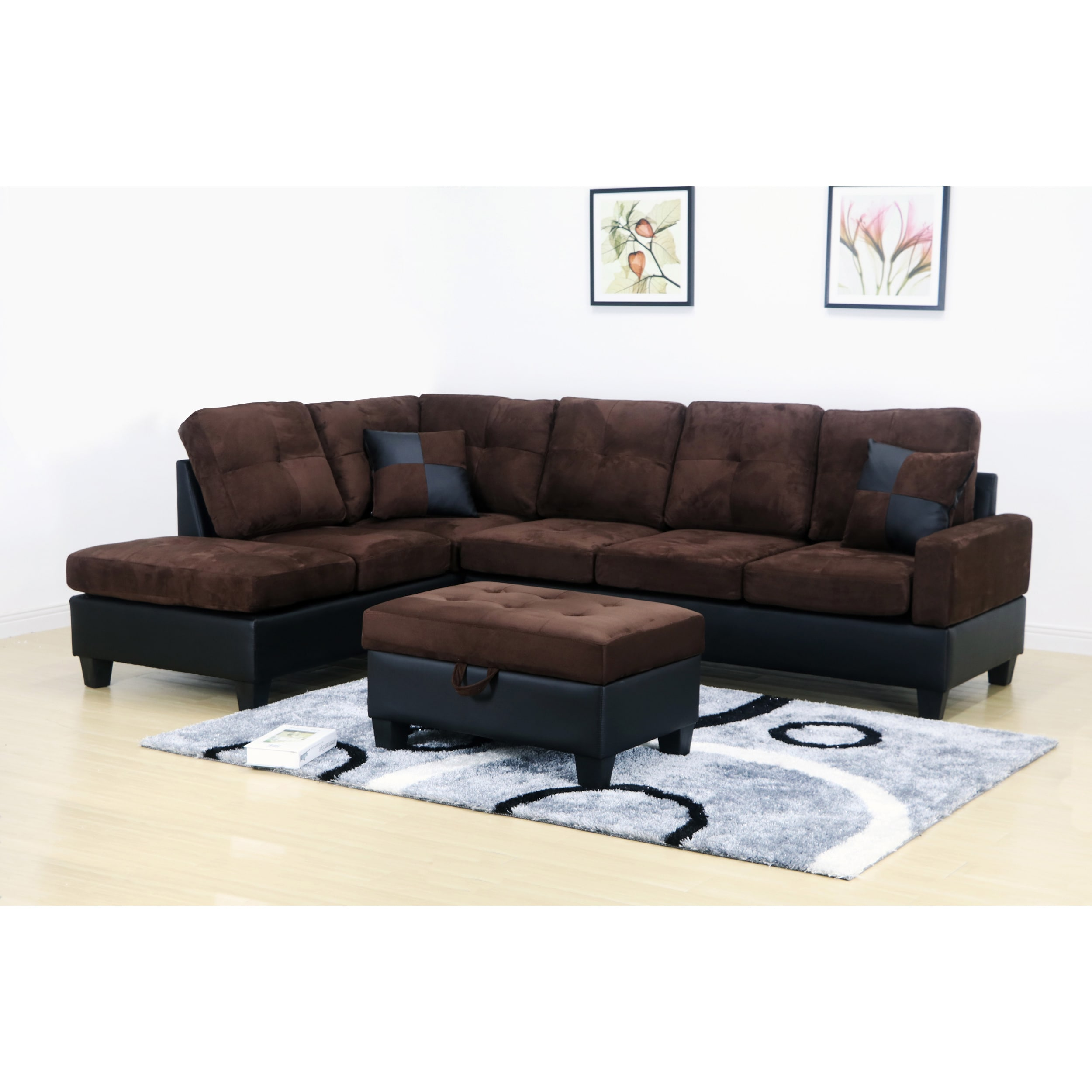Miraculous Charlie Dark Brown Microfiber Sectional Sofa And Storage Ottoman Ncnpc Chair Design For Home Ncnpcorg
