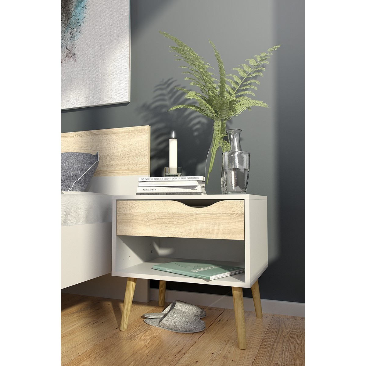 TVILUM-SCANBIRK Diana Wood 1-drawer Nightstand (White/Bla...
