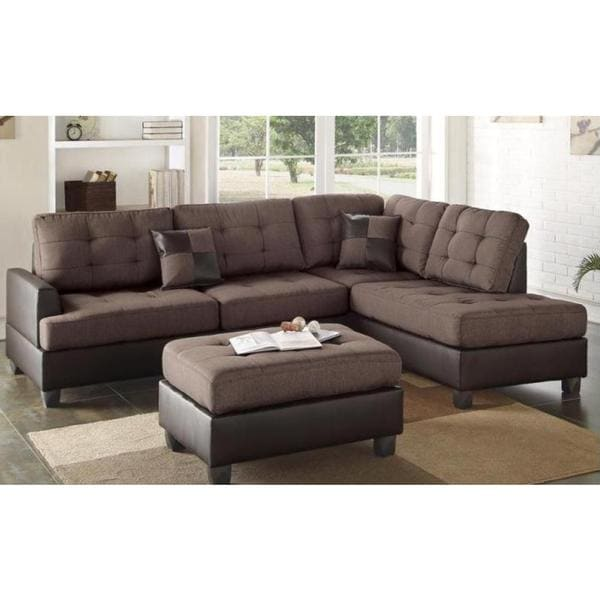 3 Piece Faux Leather And Fabric Sectional Sofa Set With Ottoman