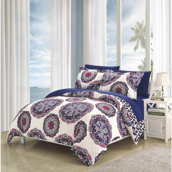 Chic Home 7-Piece Aragona Bed-In-A-Bag Navy Duvet Set