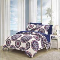 Chic Home 7-Piece Aragona Bed-In-A-Bag Navy Duvet Set