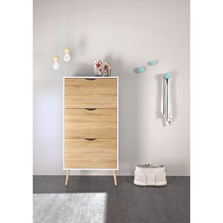 Diana Two-tone Wood 3-drawer Shoe Cabinet
