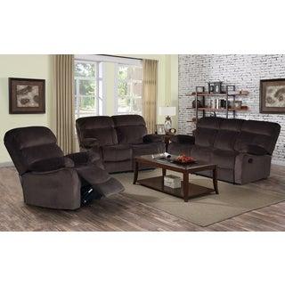 3-piece Jessica Dark Chocolate Velvet Recliner Sofa Set