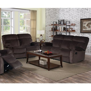 Jessica Collection Dark Chocolate Velvet 2-Piece Recliner Sofa Set