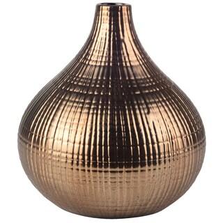 Goldtone Ceramic 7.5-inch Diameter X 8-inch High Woven Vase