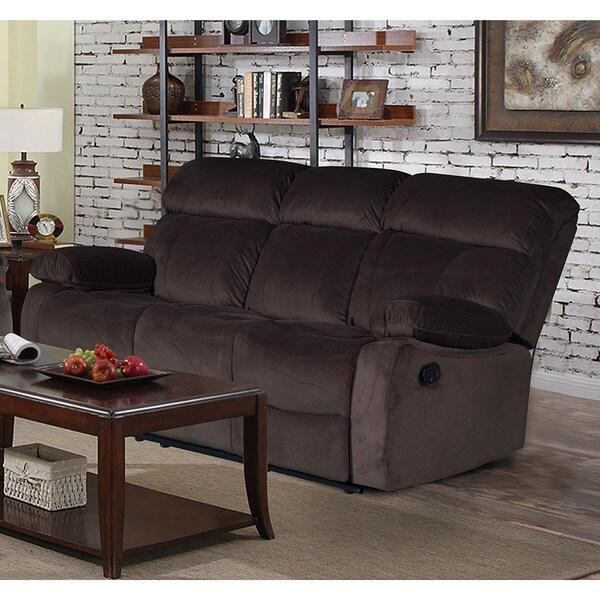 Shop Jessica Dark Chocolate Velvet Recliner Sofa Free Shipping