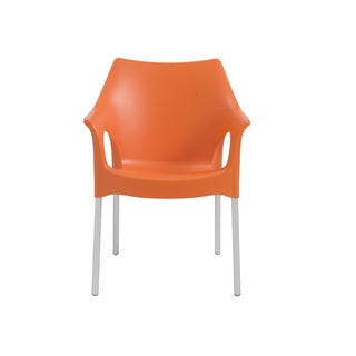 Euro Style Ola Orange Polycarbonate Stacking Arm Chair with Aluminum Legs (Set of 4)