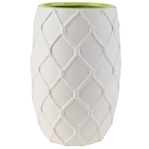 A&B Home White Ceramic Green Interior Nautical Knot Pot