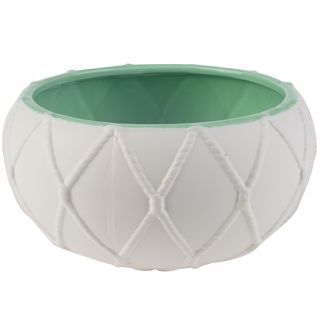 White Ceramic 9-inch Nautical Knot Pot