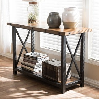 Baxton Studio Lykouros Industrial Black Metal and Distressed Wood Tables