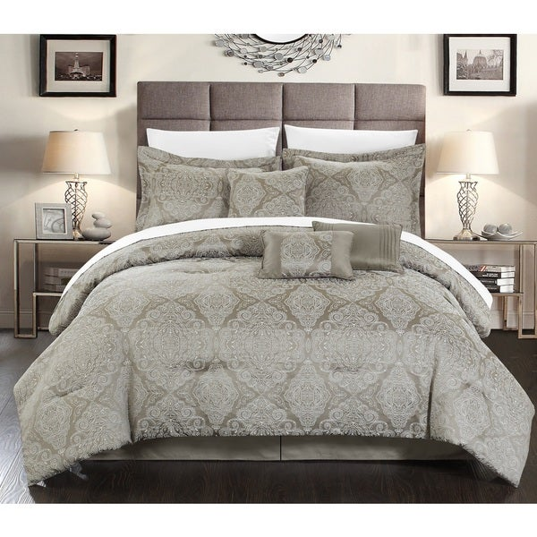 Chic Home 11-Piece Nirvana Bed-In-A-Bag Grey Comforter Set