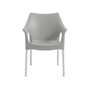 Ola Stacking Arm Chair in Gray with Aluminum Legs - Set of 4