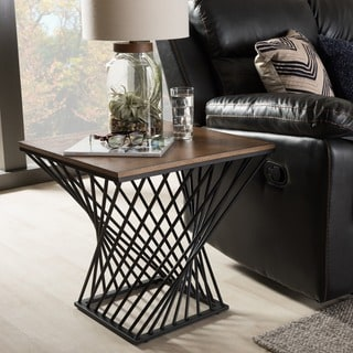 Baxton Studio Pan Geometric Industrial Antique Black Textured Finished Metal Distressed Ash Wood Occasional Side Table