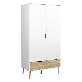 Diana White/Neutral Wood 2-drawer and 2-door Armoire