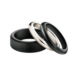 Calvin Klein Women's Sand Sterling Silver, Ebony Wood and Onyx Fashion Ring