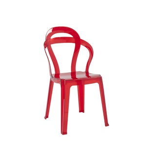 Titi Transparent Red Stacking Dining Chairs (Set of 4)